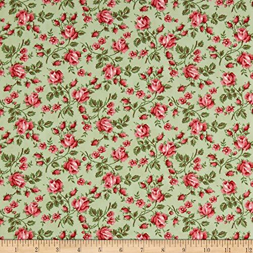 FreeSpirit Fabrics Freespirit Dream Cottage Vines N Roses Moss Fabric, 1, Fabric by the Yard