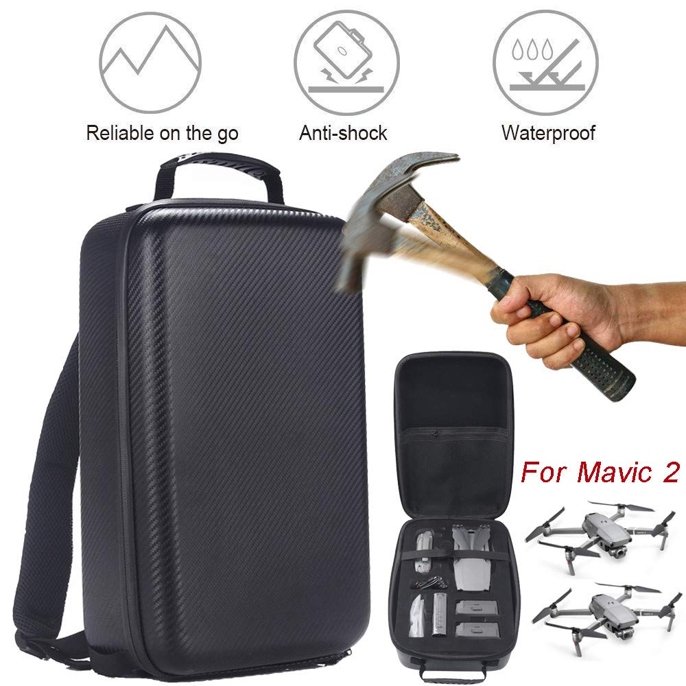 Alonea Portable Drone Bags, Portable Carrying Case Hard Backpack Bag Waterproof Anti-Shock for DJI Mavic 2 (Black❤️)