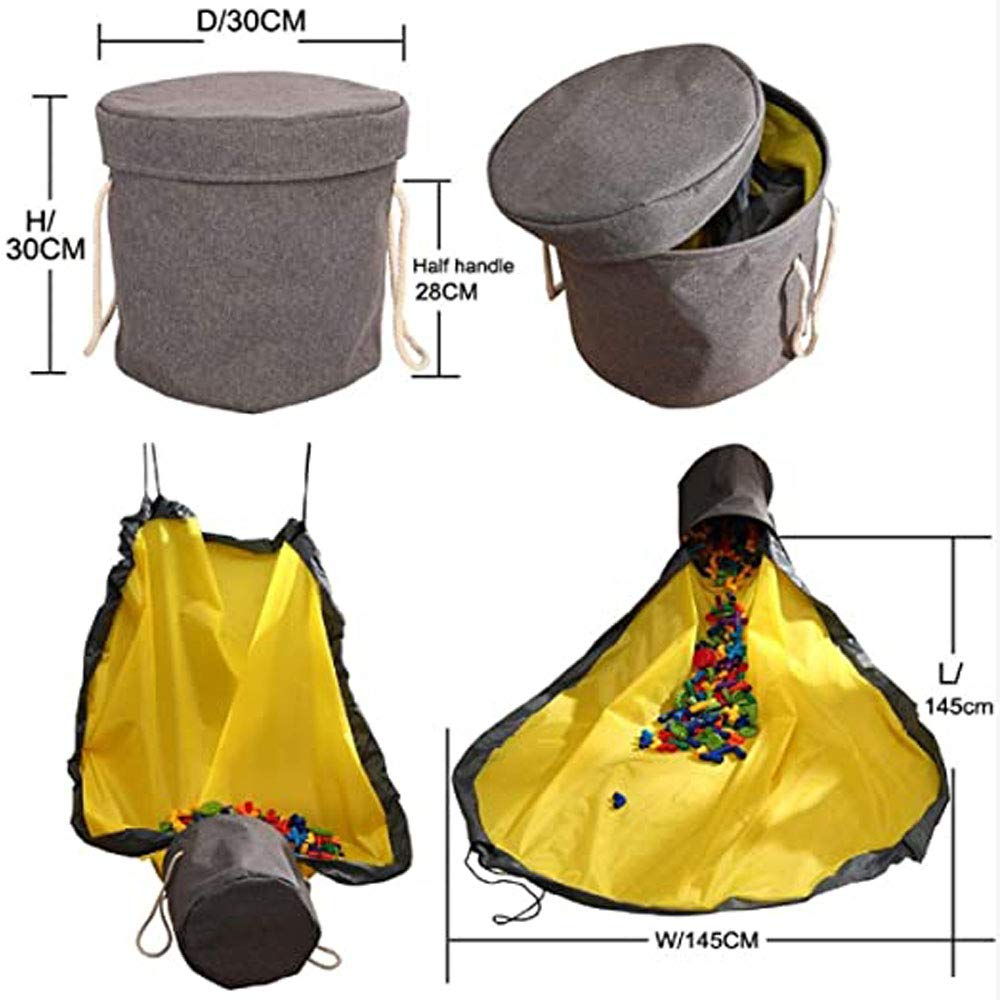 HiCharmcci Kids Toy Storage Bag and Play Mat-Large Drawstring Outdoor Toy Quick Storage Basket Organizer for Kids,59 Gray
