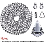 Jovitec 2 Sets Clear Cone Crystal Pull Chain Extension with Connector for Ceiling Light Fan Chain, 1 Meter Long Each Chain