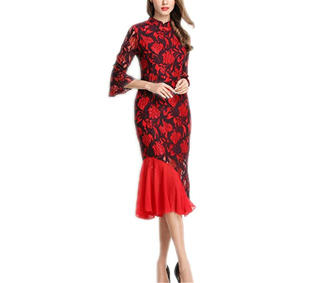 AndyLiu Runway Lace Dress New Summer Fashion Elegant Lantern Sleeve Hollow Out Bodycon Office Party Dresses