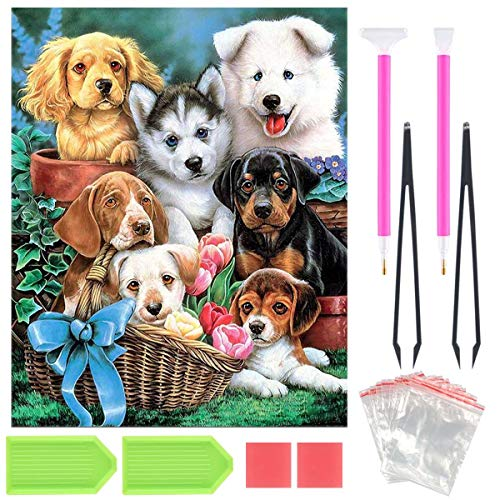 DIY 5D Diamond Painting Kit, Full Drill Round Crystal Rhinestone Embroidery Cross Stitch Home Wall Décor Arts Craft Canvas,Puppy Dogs (Long Dog Cross Stitch)