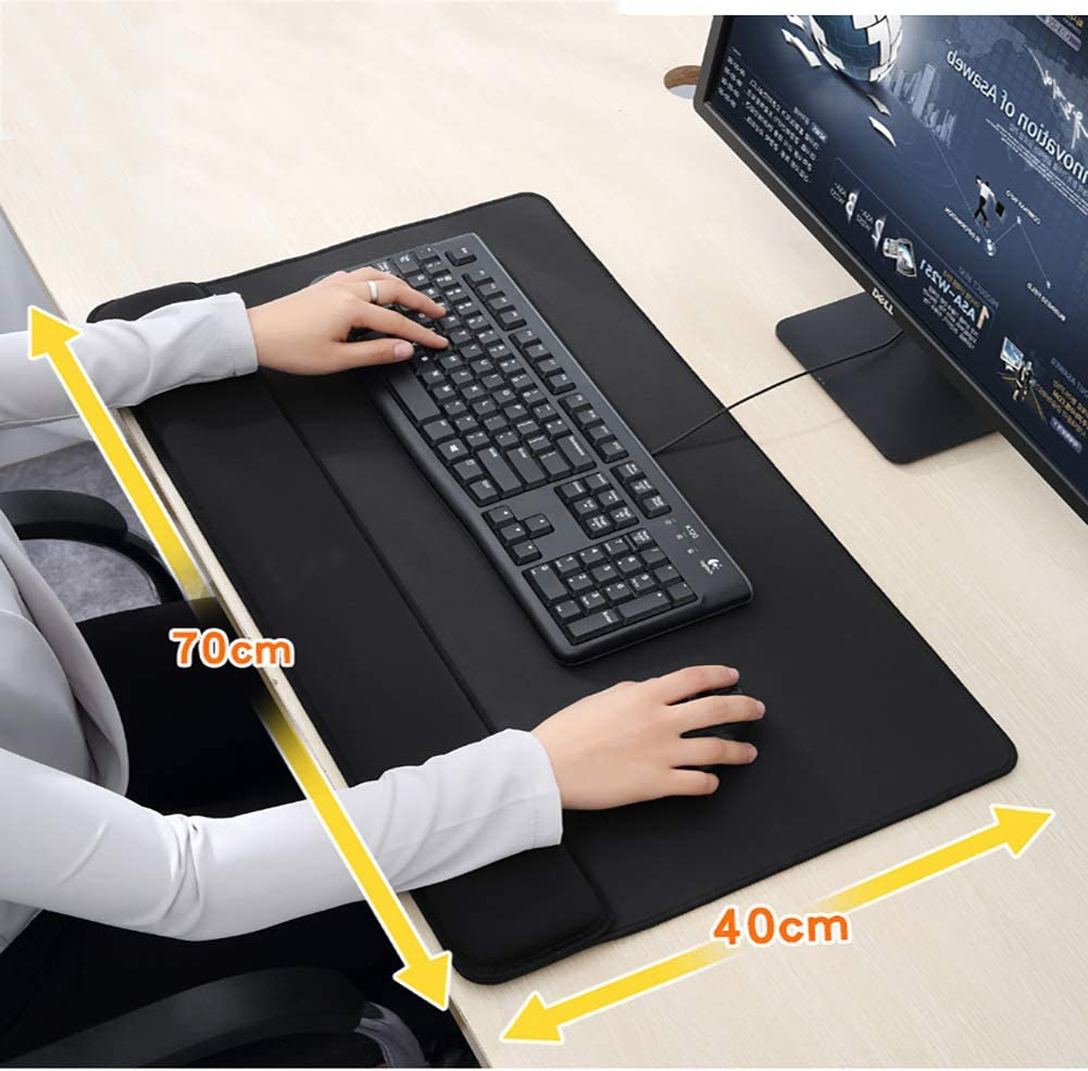 GGYDD Thick Large Mouse Pad with Wrist Rest Multifunctional Office Desk Pad Computer Mousepad Mouse Mat Durable Stitched Edges-Black 700x400mm