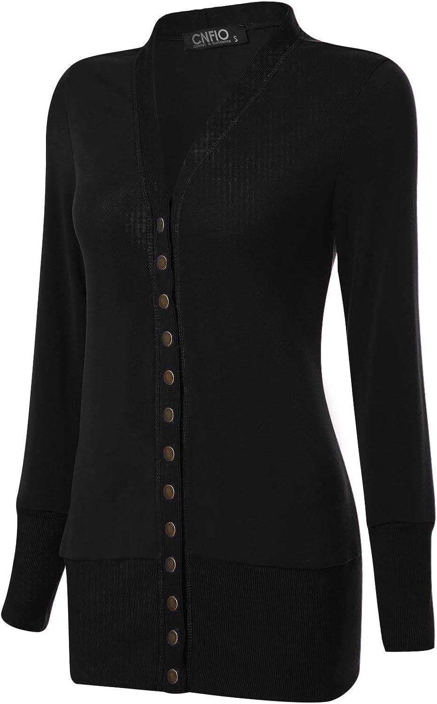 CNFIO Strickjacke Damen L/ässig Casual Cardigan Langarm Outwear Mantel Jacke Herbst D/ünn Jacken