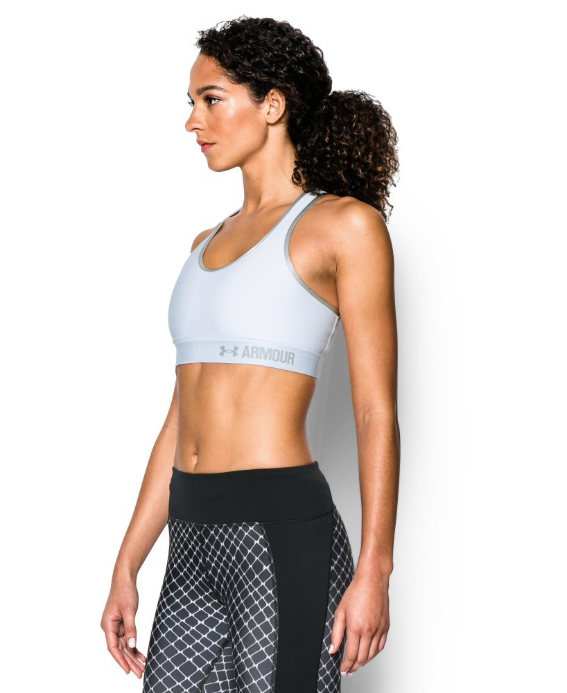 Under Armour Women's Armour Mid Sports Bra, White/Aluminum, Large by Under Armour (Image #2)