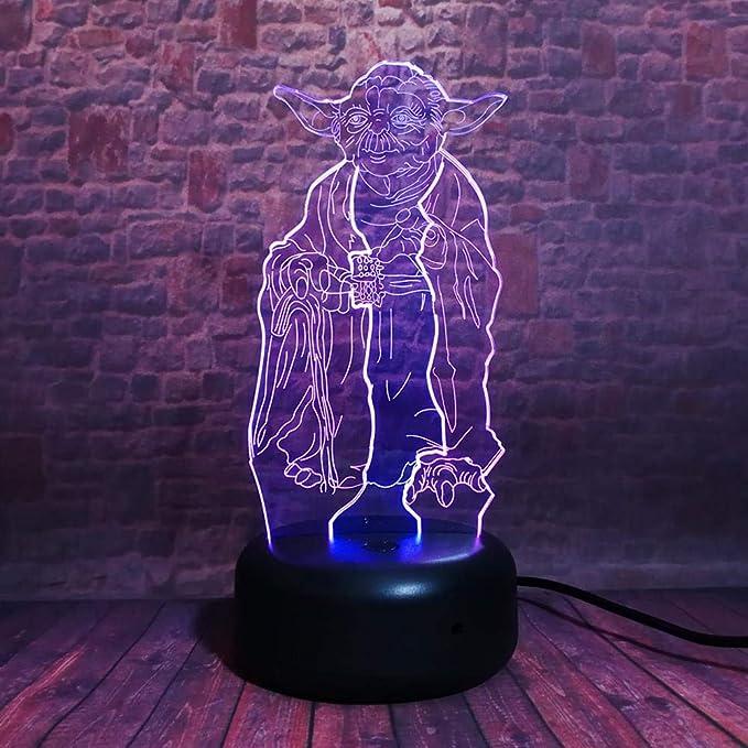 BYSQX Lámpara De Ilusión Óptica De Luz Nocturna 3D-Master Yoda 16 ...