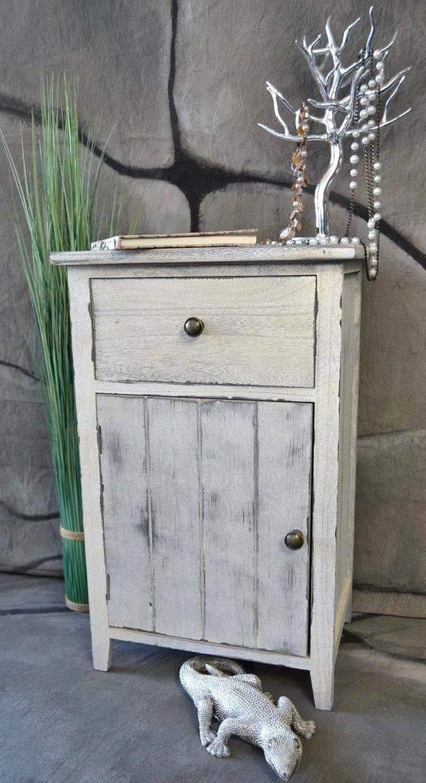 Livitat® Nachttisch Nachtschrank Kommode Used Landhaus Shabby Vintage Weiß LV1051 Tare