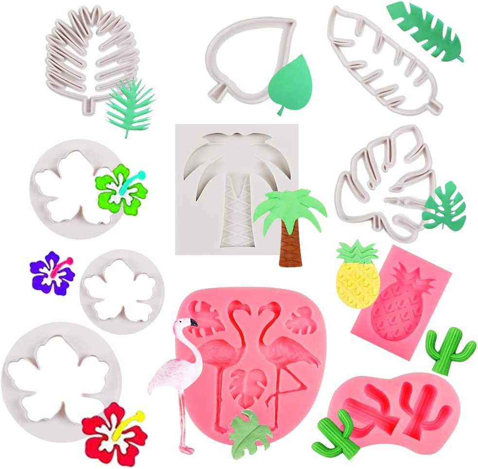 HANGNUO Hawaiian Fondant Molds Cookie Cutters Tropical Leaves Flamingo Pineapple Palm Tree Cactus Hibiscus Mold for Fondant Cake Cookie Decor