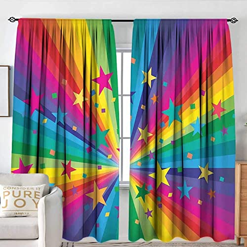 Print Pattern Curtains Abstract Home Decor,Abstract Rainbow and Stars Confetti Rays Striped Celebrating Happy Times,for Room Darkening Panel