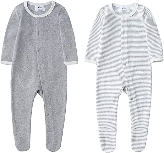 100/% Organic Cotton Baby Footed Pants Footie Style Long Sleeve Bodysuit NEW
