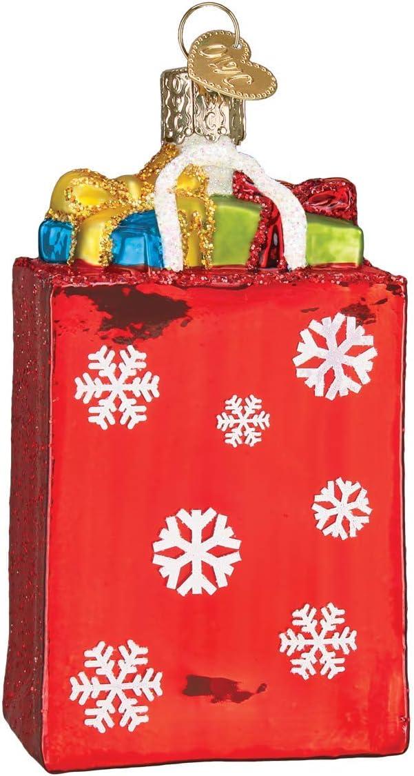 Old World Christmas Holiday Shopping Bag Glass Blown Ornaments for Christmas Tree