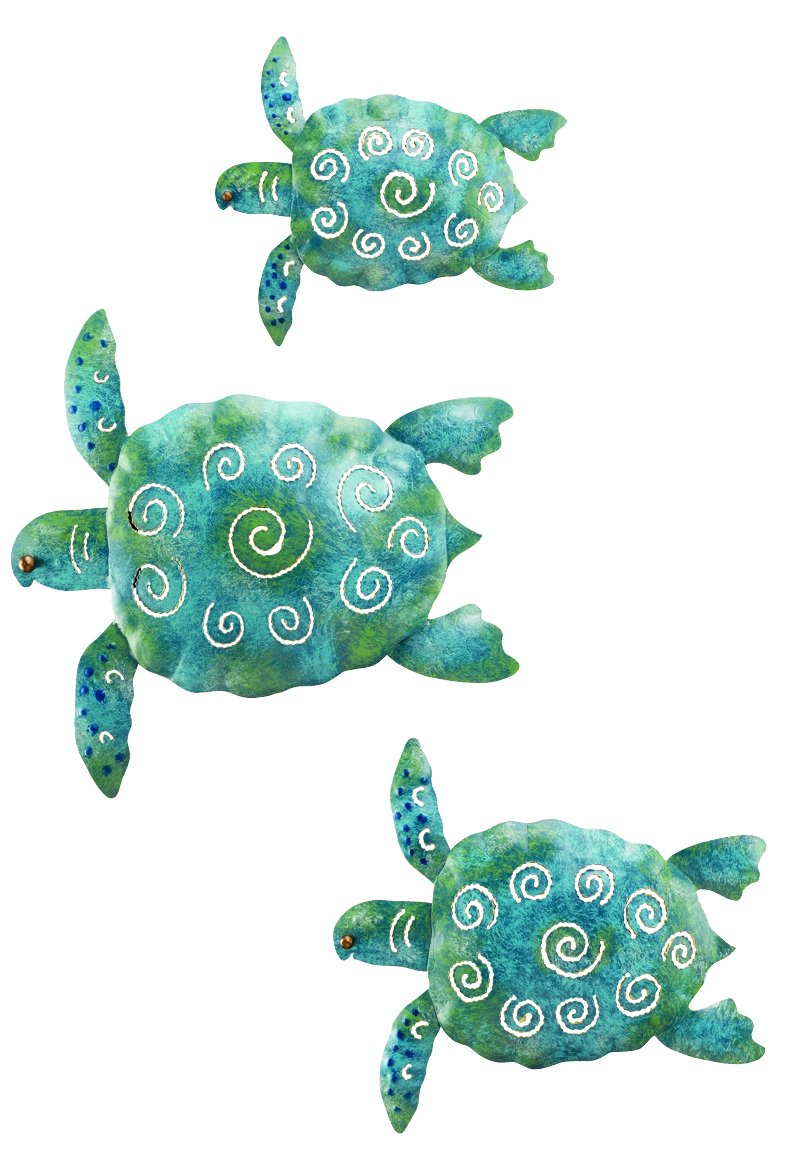 Bathroom wall art sea - Amazon Com Regal Art Gift Sea Turtle Beach Ocean Summer Metal Wall Art 3 Piece Collectible Figurines Patio Lawn Garden