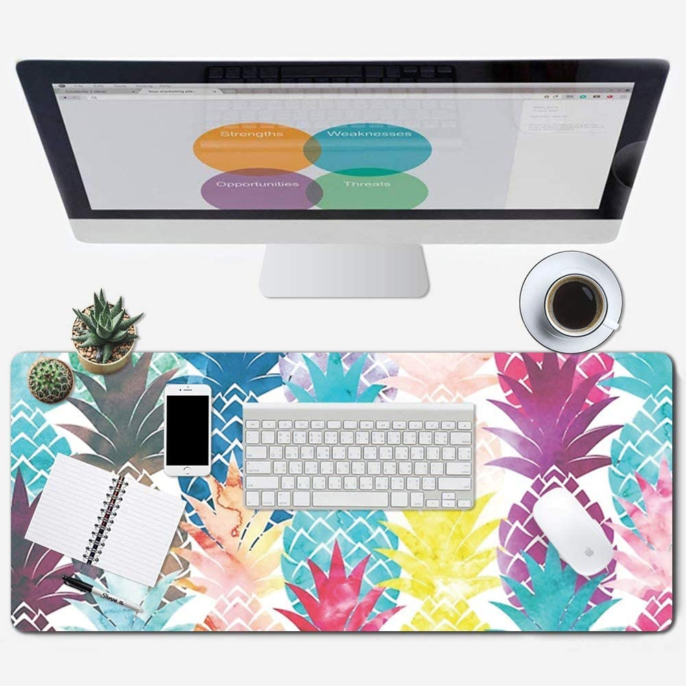 "ZYCCW Large Gaming Mouse Pad, Oversized Extended Mat Desk Pad Keyboard Pad (31.5""x11.8""x0.15"") Thick Non-Slip Rubber Stitched Edges(Pineapple)"