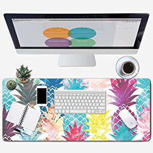 """ZYCCW Large Gaming Mouse Pad, Oversized Extended Mat Desk Pad Keyboard Pad (31.5""""x11.8""""x0.15"""") Thick Non-Slip Rubber Stitched Edges(Pineapple)"""