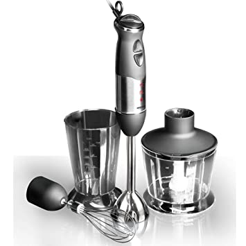 REDMOND Stainless Steel Hand Blender, 700W, with 2 Jars (Black and Silver) Hand Blenders at amazon