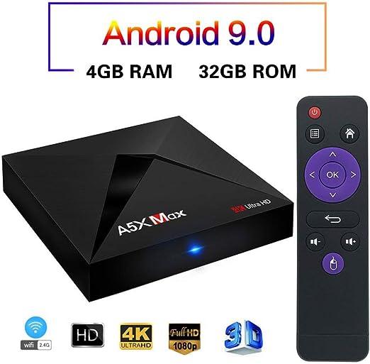 YPSMLYY Decodificador De Red WiFi Android 9.0 Quad-Core Rockchip RK3318 Bluetooth 4K DLNA 3D Mini TV Box 4GB 32GB Magicsee A5X MAX TV Box: Amazon.es: Hogar