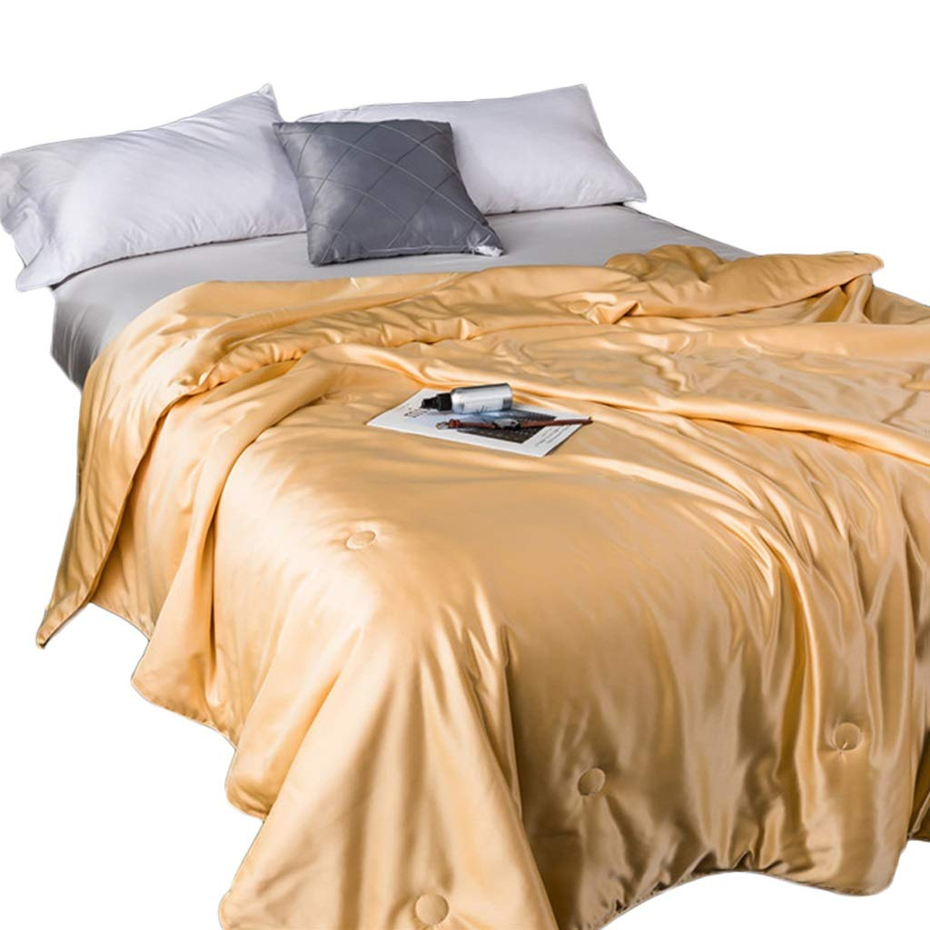 HiiGlife Weighted Blankets Ice Silk Duvet Cooling Weighted Blanket Air Conditioner Quilt Warm by Core Thin Quilt All-Seasons Kids or Adult (Color : Golden Yellow, Size : 150 × 200cm) by HiiGlife