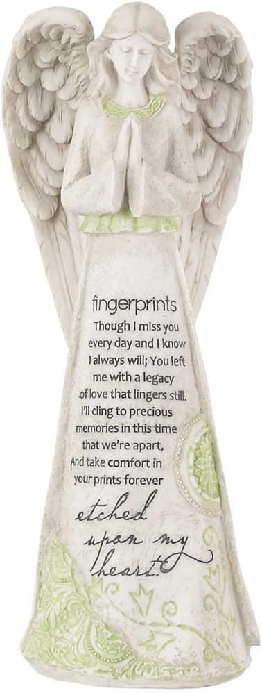 Dicksons Fingerprints Etched Upon My Heart 11.25 Inch Resin Tabletop Praying Angel Figurine