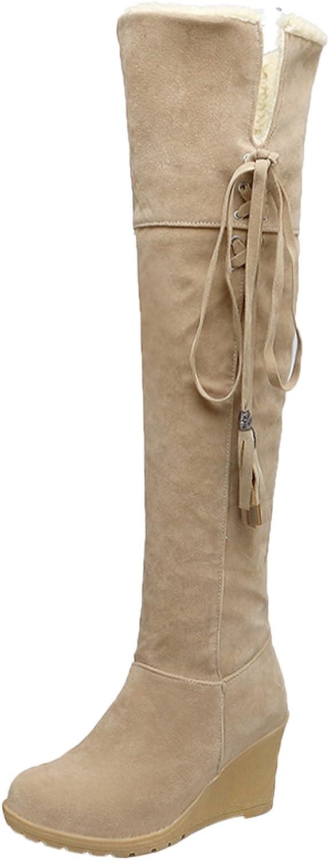 Rodilla Botas Altas Mujer Casual Cordones Otoño Invierno Cuña Cómodo Cálidas Botas largas De BIGTREE