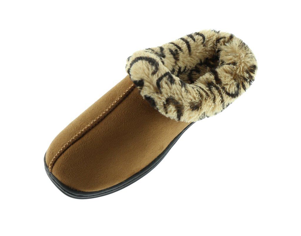 Beverly Rock Woman's New Faux Suede, Leopard Fur Lined Clogs, in 3 Pretty Colors Brown XL