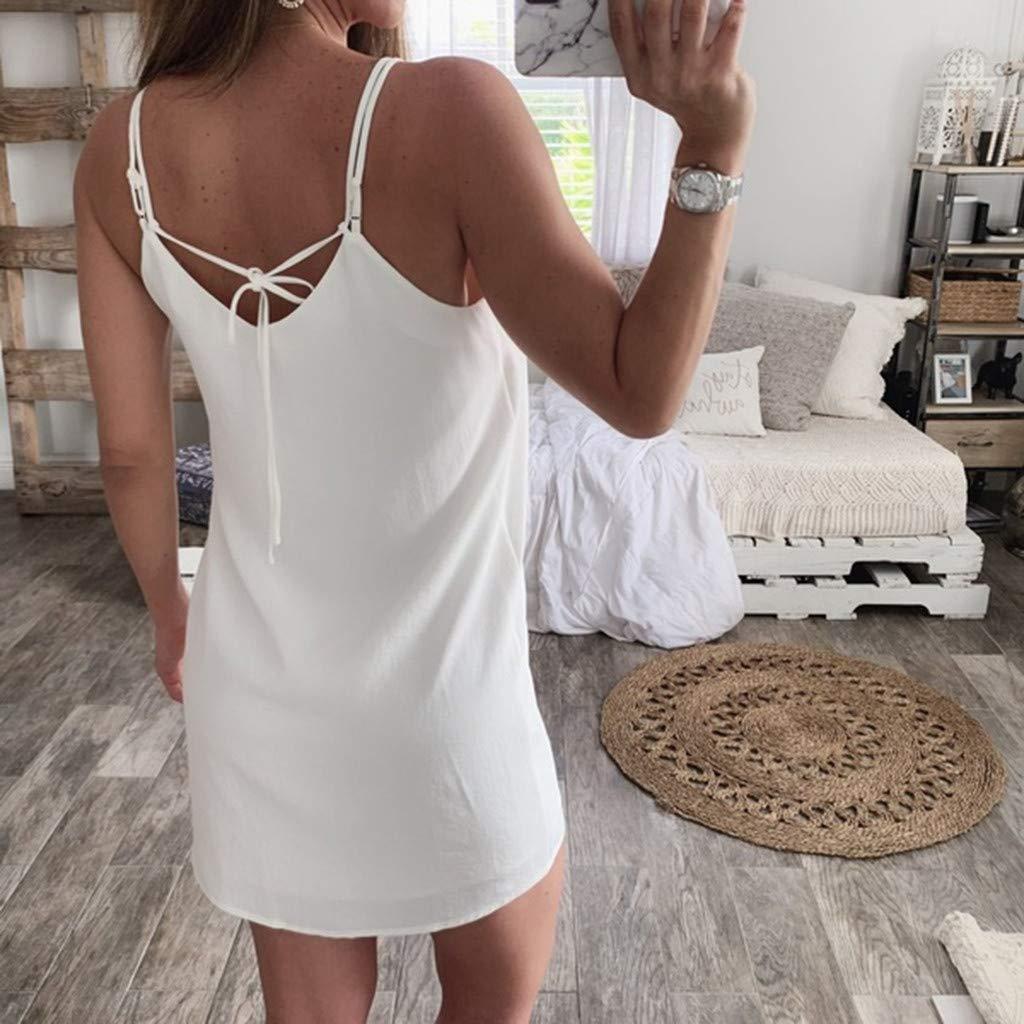 Reokoou Womens V-Neck Chiffon Sleeveless Casual Sundress Button Bandage Beach Mini Dress