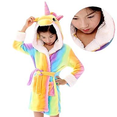 Amazon.com  JoyJon Unicorn Kids Bathrobe Comfy Soft Thickened Flannel Robe  Unisex Hooded Gift All Seasons Unicorn Sleepwear for Girls  Clothing f5ccdcc10
