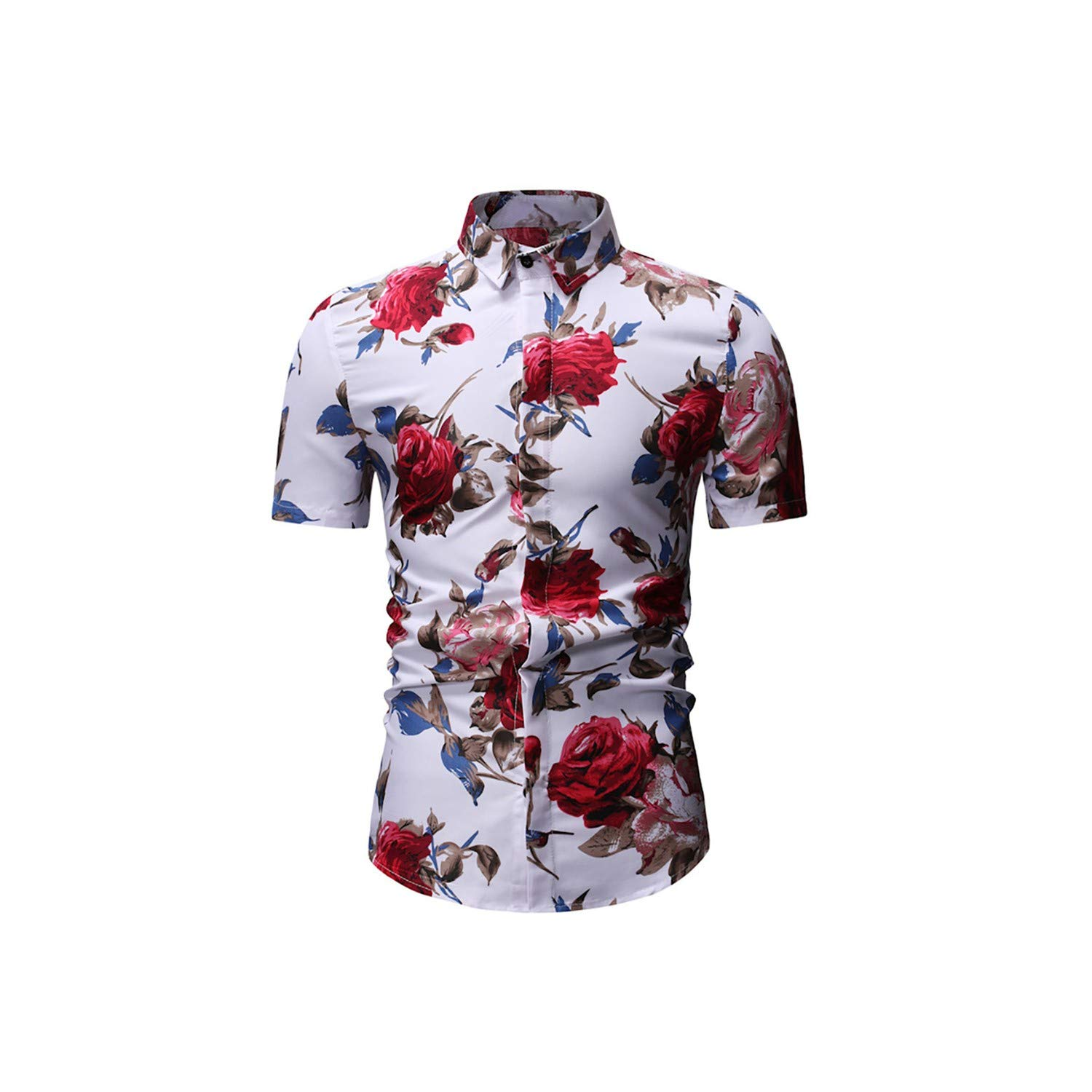 Floral Shirt Men Casual Summer Printed Button Short Sleeve Slim Fit Top Blouse Male Clothing