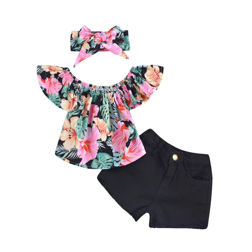 Jchen 2Pcs Baby Kids Little Girls Off Shoulder Flower Print Crop Tops Solid Color Shorts Summer Casual Outfits for 0-3 Yrs (Age:6-12 Months, Black)