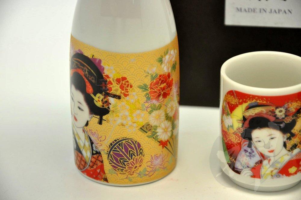 Japanese Mino Yaki Tokkuri Sake cup Sake Set 3pc 5.5 / 5.5 / 13.8cm (2.1 / 2.1 / 5.4inch)[7024]