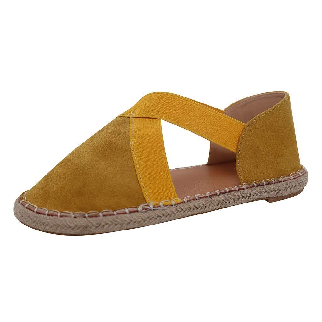 SSYongxia❤ Women's Classic Retro Ballet Flat Shoes -lastic Crossing Straps Flats Shoe Casual Fashion Shoes Yellow