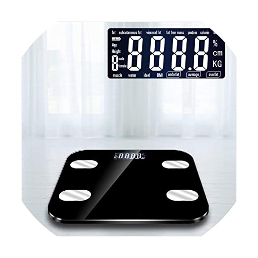 Amazon.com: 13 Electronic Smart Weighing Scales Bathroom Body Fat bmi Scale Digital Human Weight Mi Scales Floor LCD Display,Black 2: Health & Personal Care
