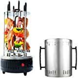 Portable Vertical Barbecue Grill Electric Smokeless Oven AC 220V 6 Skewers for Household Kebab Rotisserie