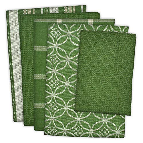 DII Cotton Oversized Kitchen Dish Towels 18 x 28 and Dishcloth 13 x 13, Set of 5 , Absorbent Washing Drying Dishtowels for Everyday Cooking and Baking-Sage