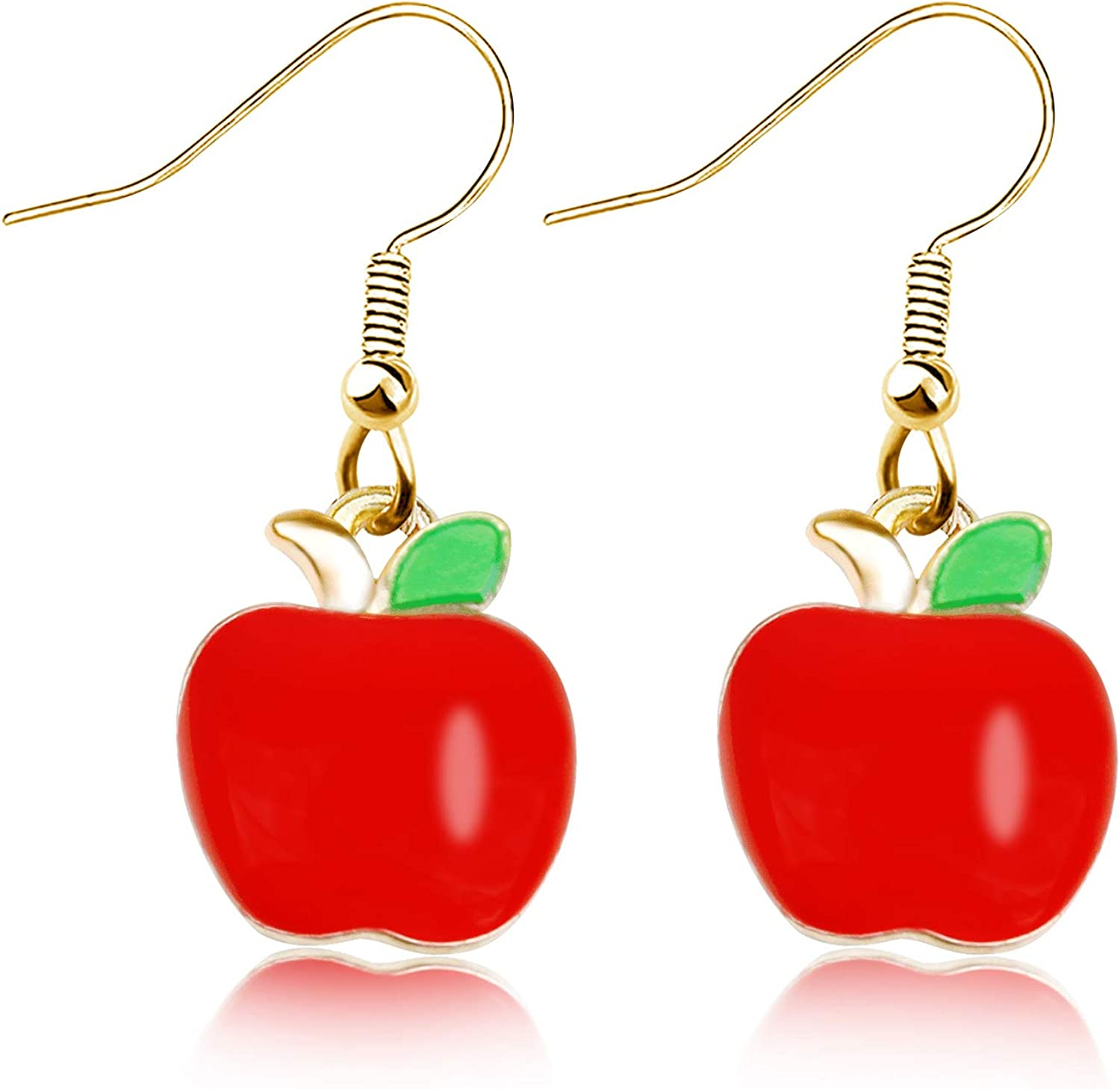 JIGAL Fruit Earrings Red Apple Dangle Earrings Teacher Jewelry Teacher Appreciation Gift from Student