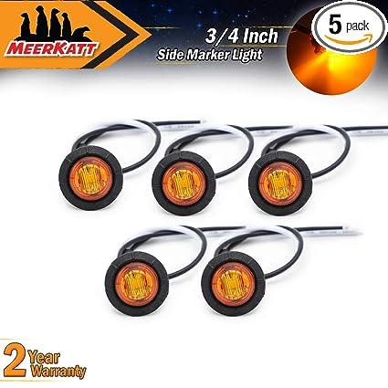 4 Pcs 3//4 Inch Round Amber 3 LED Side Marker Indicator Light Trailer Boat RV 12V