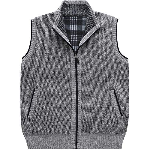 (XinDao Men's Stand Collar Loose Zipper Sleeveless Knitted Cardigan Sweater Vest Outwear Jackets & Coats Light Grey US L/Asia 2XL)