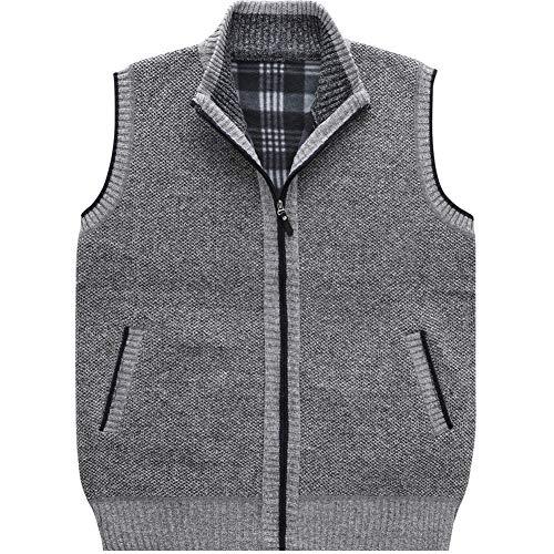 XinDao Men's Stand Collar Loose Zipper Sleeveless Knitted Cardigan Sweater Vest Outwear Jackets & Coats Light Grey US L/Asia 2XL