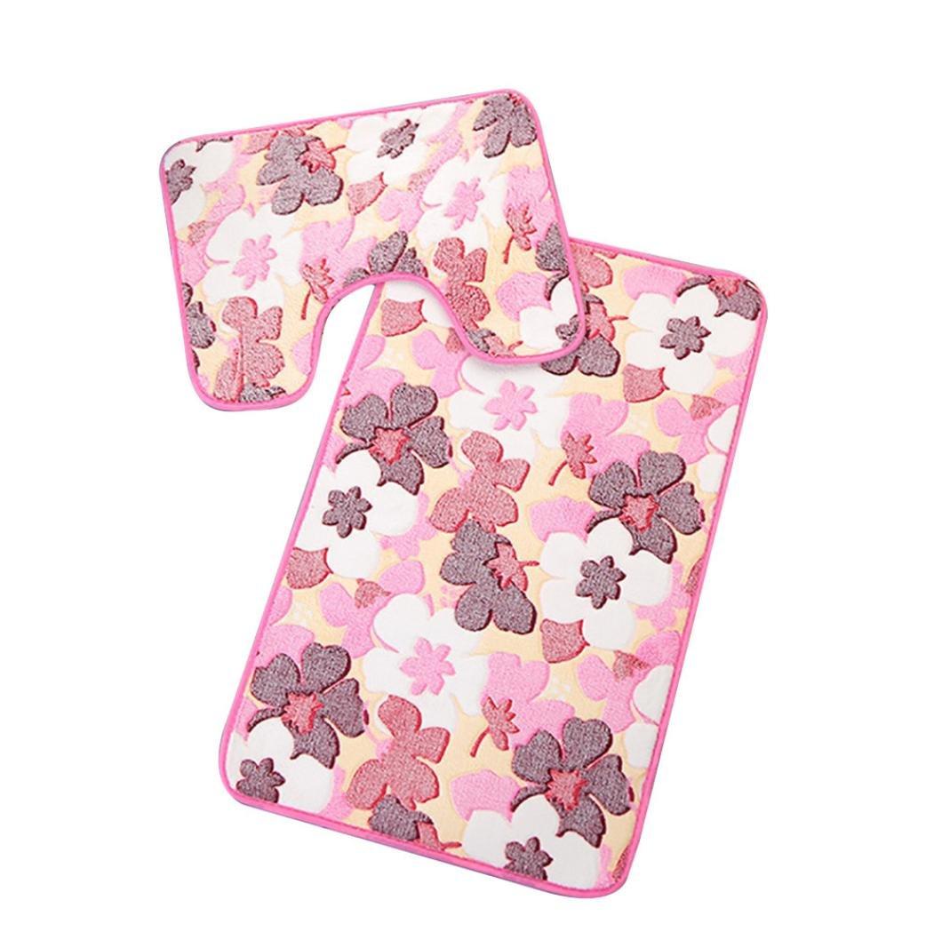 Transer Coral Velvet Soft Non Slip Bathroom Shower Mat Toilet Floor Rug Carpet Pad 2pcs (Blue)