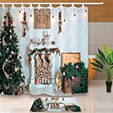 CdHBH New Year Festival Decor Christmas Tree Fireplace and Presents for Family 71X71in Mildew Resistant Polyester Fabric Shower Curtain Set 15.7x23.6in Flannel Non-Slip Floor Doormat Bath Rugs