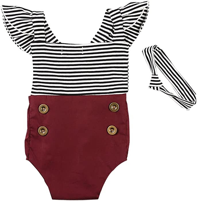 0651be2988c8 Amazon.com  KIDSA 0-2T Baby Girl Summer Vintage Striped Romper ...