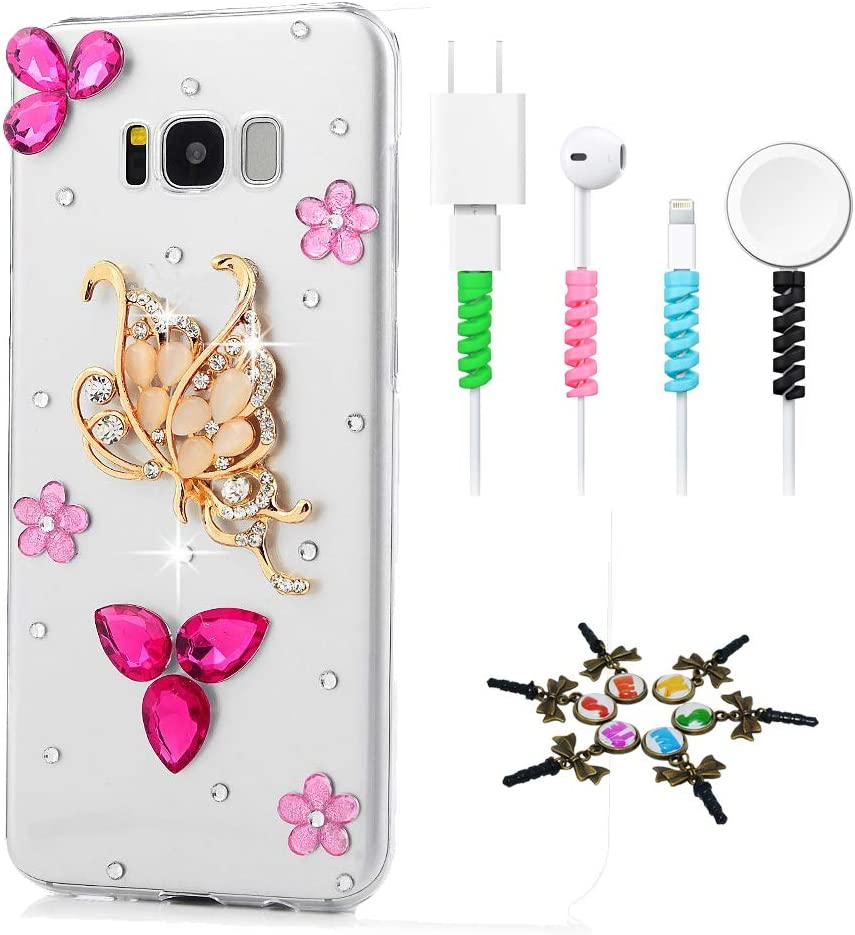 STENES Sparkle Case Compatible with Samsung Galaxy A50 - Stylish - 3D Handmade Bling Rhinestion Pretty Butterfly Flowers Design Cover Case with Cable Protector [4 Pack] - Red