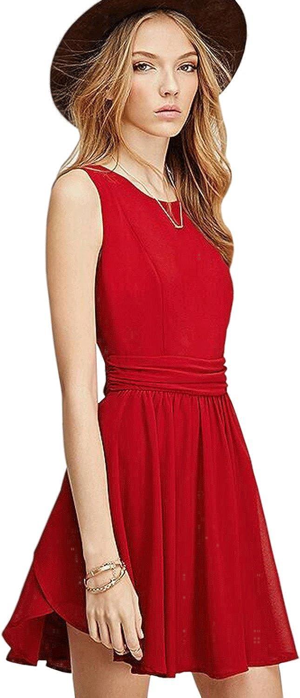 Zumeet Women Short Length Chiffon Halter Party Dress Red