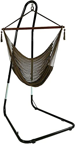 Sunnydaze Hanging Rope Hammock Chair Swing with Stand – Caribbean Style Extra Large Hanging Chair with Adjustable Stand for Backyard Patio – 300-Pound Capacity – Mocha