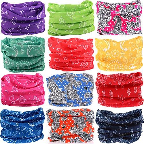 6PCS/8PCS/9PCS/12PCS Seamless Headband camo Bandanas Headwear for Men&Women Neckwarmer Scarf 16-in-1 Multifunctional for Music Festivals Raves Neck Gaiter Magic Scarf Fishing Mask (12PCS-5RAINDROP)