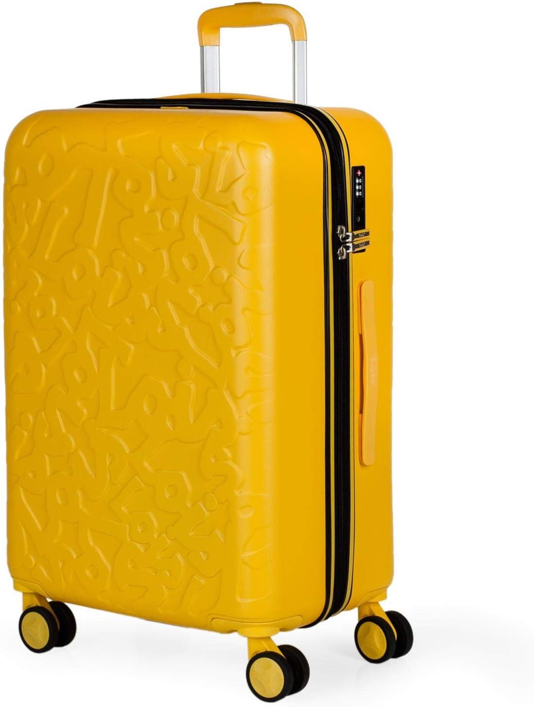 Lois - Maleta de Viaje Mediana 4 Ruedas Trolley. 66 cm Rígida de ABS. Dura Resistente Práctica Cómoda Ligera y Bonito Diseño Marca. Candado TSA. 171160, Color Mostaza