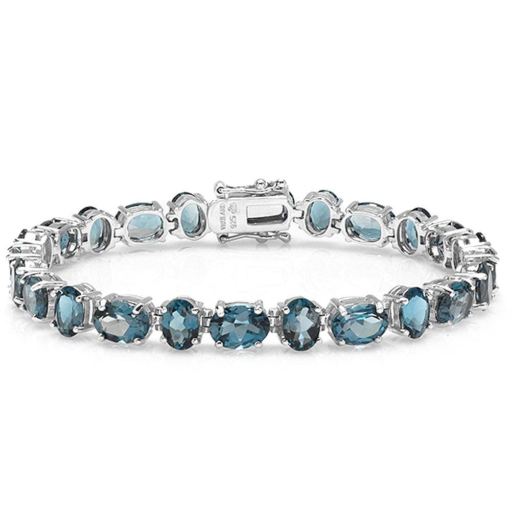 31.00 CT Real Oval Cut Genuine Blue Topaz Sterling Silver Tennis Bracelet (6 MM Width x 7.75 Inch Length)