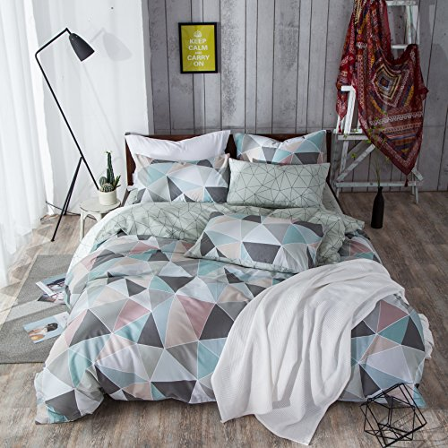 VM VOUGEMARKET 100% Cotton Duvet Cover set Queen,3 Pieces Geometric Duvet Cover matching 2 Pillow Shams,Colorful Diamond Bedding Set-Full/Queen,Diamond
