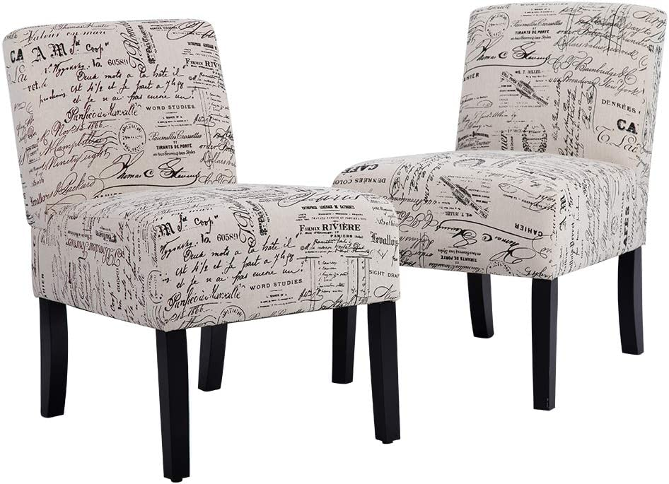 Accent Dining Chair Club Side Upholstered Letter Print Fabric Armless Living Room Chairs – 2 Chairs