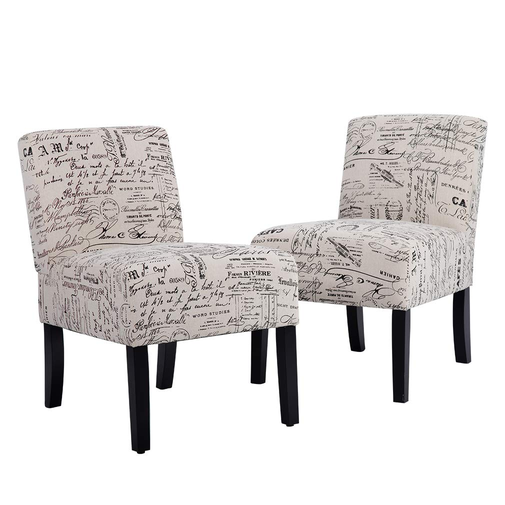Amazon com bestmassage accent dining chair club side upholstered letter print fabric armless living room chairs 2 chairs home kitchen
