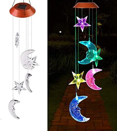 Solar Powered LED Garden Light Wind Chimes Outdoor Colour Changing Hanging Decor